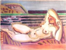 »Liegender weiblicher Akt (um 1952) signiert«  Aquarell | 46,5 x 62,5 cm