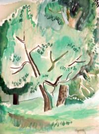 »Waldlandschaft  (um 1931) signiert«  Aquarell | 34 x 24 cm