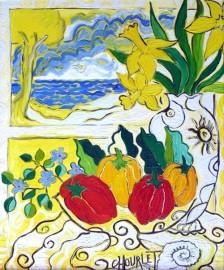 Jonquilles, poivrons et grand soleil |  Öl auf Leinwand | 61 x 50 cm