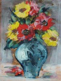 »Stillleben mit blauer Vase«  Guache auf Papier | 42 x 30 cm